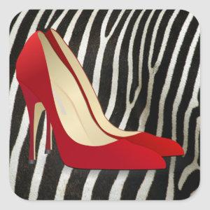 high heels red square sticker