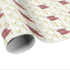 highland cow messy daffodils wrapping paper