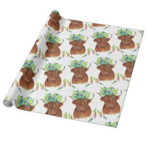 highland cow wearing thistle fern hat wrap paper