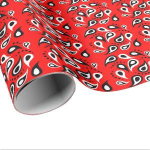 Hip Red Bandana Print Black White Paisley and Dots Wrapping Paper