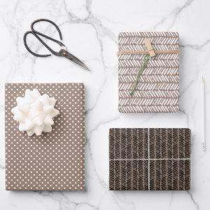 Hip Taupe Brown Beige White Abstract Zigzag Art Wrapping Paper Sheets