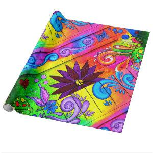 hippie 70's psychedelic diagonal wrapping paper