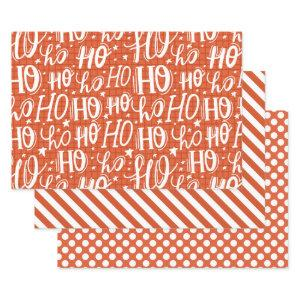 Ho Ho Ho Typography Pattern Cute Holiday Christmas Wrapping Paper Sheets
