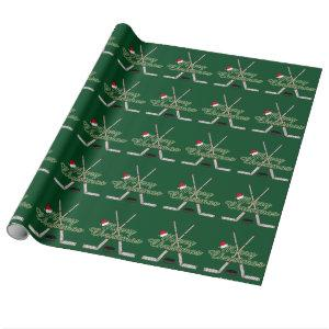 Hockey Sticks Puck Santa Hat Merry Christmas Wrapping Paper