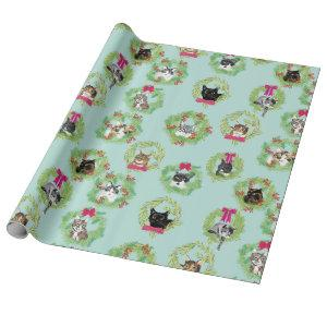 Holiday Cat Wreaths Wrapping Paper