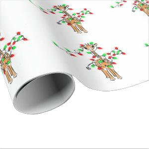 Holiday Giraffe- twinkle red and green lights Wrapping Paper
