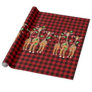 Holiday Giraffes, twinkle red, green lights, plaid