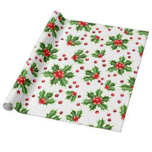 Holiday Green Holly Red Berries Pattern Wrapping Paper