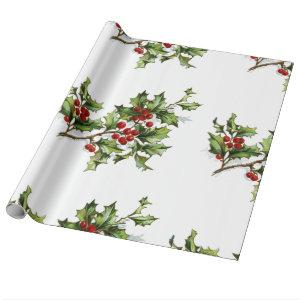 Holiday Holly Retro Style Gift Wrapping Paper