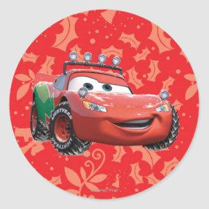 Holiday Lightning McQueen Classic Round Sticker