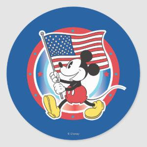 Holiday Mickey | Flag with Circle Classic Round Sticker