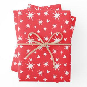 Holiday Mickey Mouse Red and White Pattern Wrapping Paper Sheets
