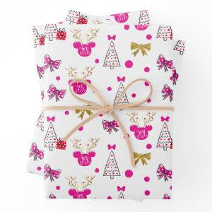 Holiday Minnie Pattern with Gold Bows & Antlers Wrapping Paper Sheets