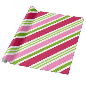 Holiday Pink Retro Candy Christmas Wrapping Paper