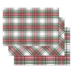 Holiday Plaid Red Green Wrapping Paper Sheets