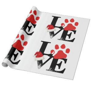 Holiday Santapaws -Paw Print in Christmas LOVE Wrapping Paper