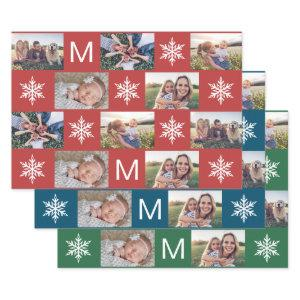 Holiday Snowflakes and Monogram Photo Collage Wrapping Paper Sheets