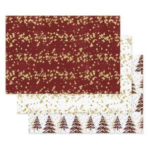 Holiday Sparkle - Elegant Burgundy, Gold, & White Wrapping Paper Sheets