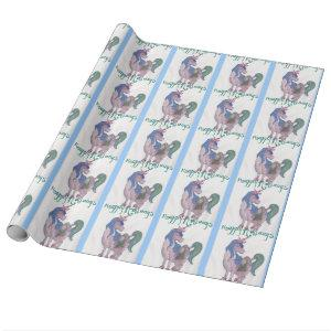 Holiday Unicorn Cartoon Art Wrapping Paper