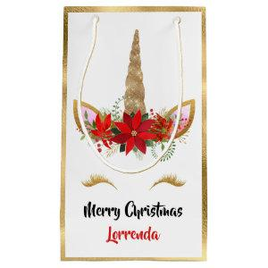 Holiday Unicorn Merry Christmas Name Gold Red Pink Small Gift Bag