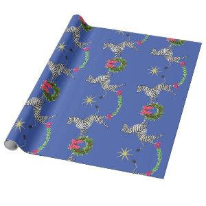 Holiday Zebras on Blue Wrapping Paper