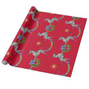Holiday Zebras on Red Wrapping Paper