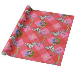 Holiday Zebras Pink Plaid Wrapping Paper