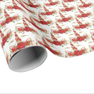 Holidays Chrismas Unicorn Lashes White Gold Merry Wrapping Paper