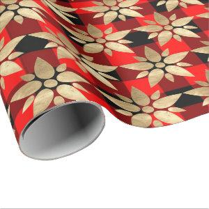 Holidays Merry Chrismas Buffalo Plaid Red Gold1 Wrapping Paper