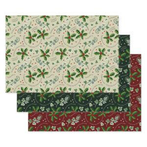 Holly and the Ivy Cream Green Red Christmas Wrapping Paper Sheets