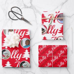 Holly Jolly Photo Collage Red White Christmas Wrapping Paper Sheets