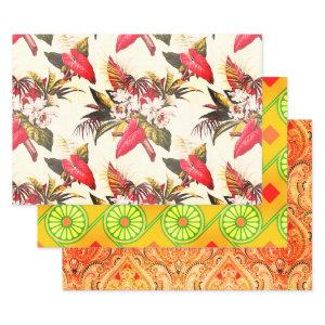 Hollywood Tropic, Bruxelles Apricot, and Thebes Wrapping Paper Sheets