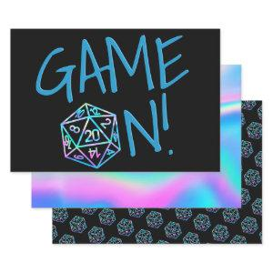 Hologram D20 Game On | RPG Fantasy Tabletop Dice Wrapping Paper Sheets