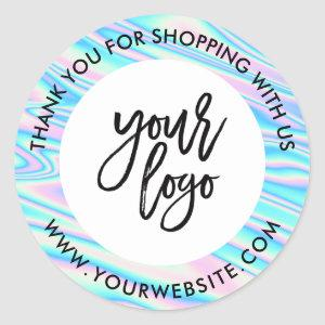 Holograph rainbow custom logo name white thank you classic round sticker