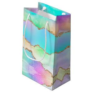 Holographic Agate | Iridescent Pastel Ombre Marble Small Gift Bag