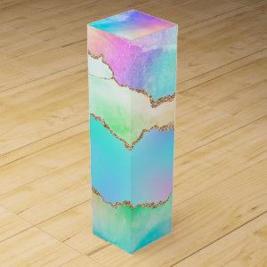 Holographic Agate | Iridescent Pastel Ombre Marble Wine Box