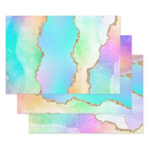 Holographic Agate | Iridescent Pastel Ombre Marble Wrapping Paper Sheets