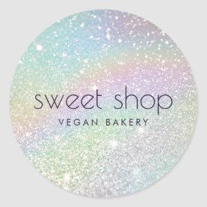 Holographic Glitter Bakery, Sweets Classic Round Sticker