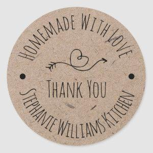 Homemade with Love | Kraft Paper Thank You Classic Round Sticker