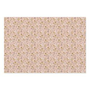 Honey Bee Floral on Pink Wrapping Paper Sheets