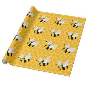 Honey Bee & Honeycomb Pattern Wrapping Paper