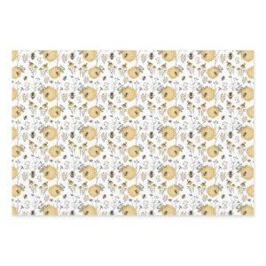 Honey comb and Flowers with Bees Wrapping Paper Sheets