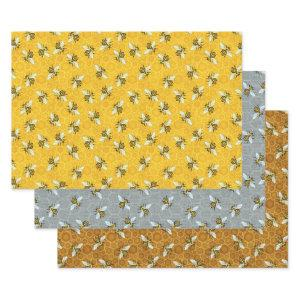 Honeybee Honeycomb Beehive Bees Apiary Patterns Wrapping Paper Sheets