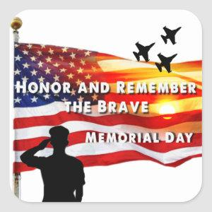 Honor and Remember the Brave Square Sticker