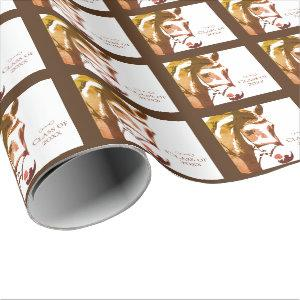 Horse and Snaffle Bit in Brown Graduation Class of Wrapping Paper