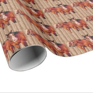 Horse Lover's Girls Club for Cowgirls Wrapping Paper