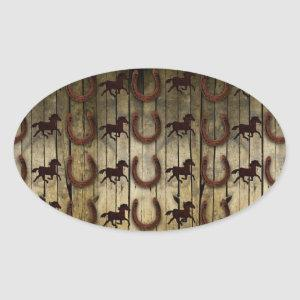 Horses and Horseshoes on Wood  backround Gifts Oval Sticker