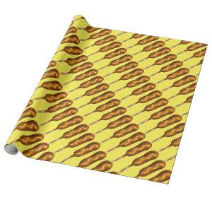 Hot Corn Dog Corndog Mustard Junk Food Foodie Wrapping Paper