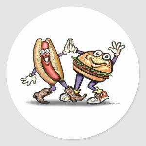 Hot Dog n Hamburger Classic Round Sticker