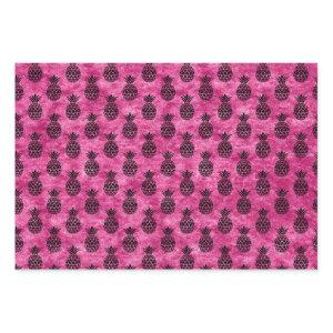 Hot Pink and Black Pineapple Wrapping Paper Sheets